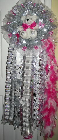 Quad Homecoming Mum Senior Hot Pink Accent