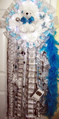 Senior Quad Homecoming Mum Turquoise Lights