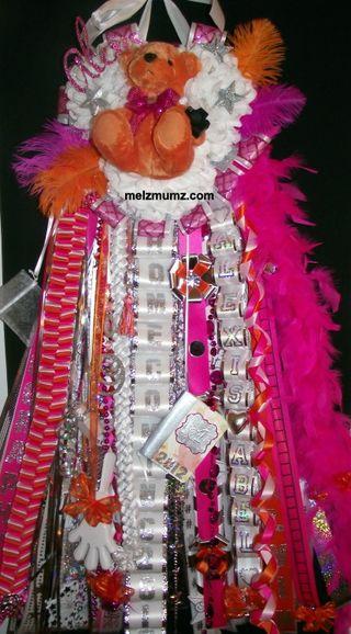 Senior Triple Mega Homecoming Mum Hot Pink Orange Photography
