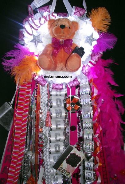 Triple Mega Homecoming Mum Hot Pink Orange Photography lights