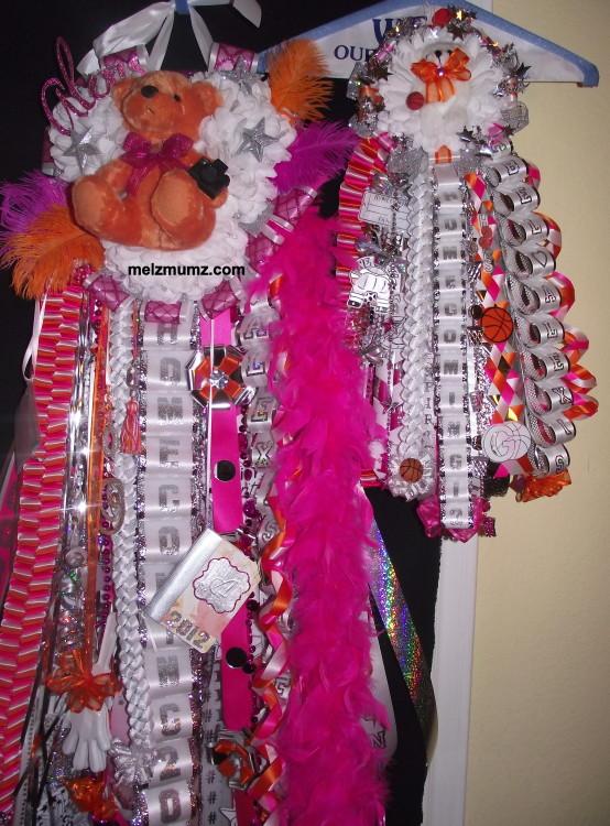 Triple Mega Homecoming Mum Hot Pink Orange  matching garter