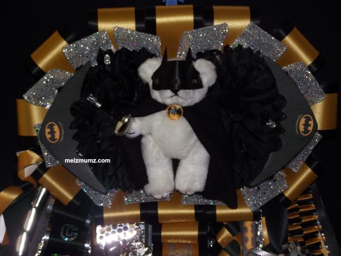 Senior Double Homecoming Garter Batman Black Gold close up