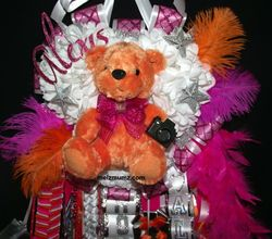 Triple Mega Homecoming Mum Hot Pink Orange Photography top Alvin High School