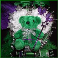 Melz Mumz Junior Triple Mega Homecoming Mum Southlake Carroll purple accents top