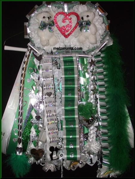 Senior Double Mega Homecoming Garter Grapevine High School Green accent