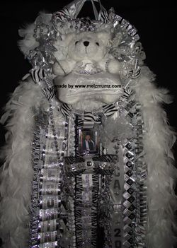 made by www.melzmumz.com  Mega Triple Senior Homecoming Mum with Zebra Accent